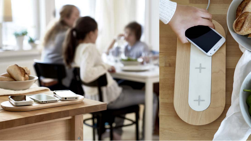 Wireless Charging stand built into furniture | Image credits: IKEA
