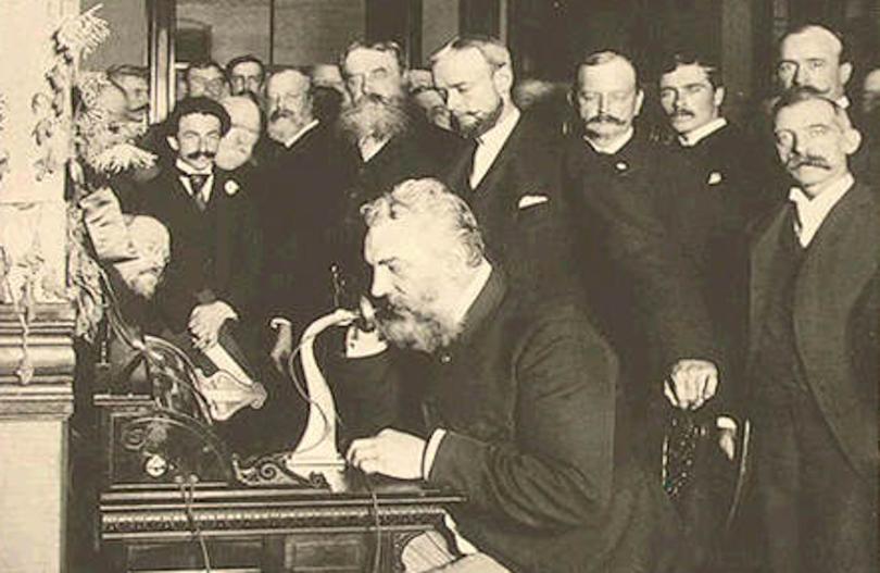 Alexander Graham Bell Demonstrating The Telephone In 1876