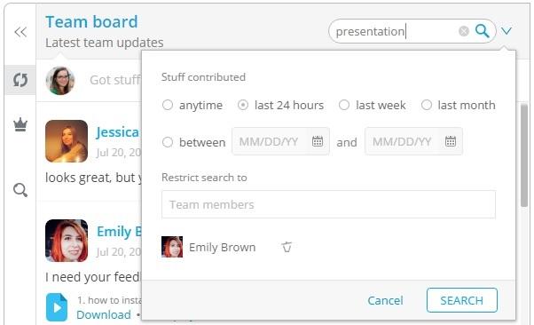 Team board search