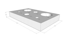 Plate (D): length 80mm, width 50mm, height 10 mm with 6 holes (5,10 and 20mm diameter)